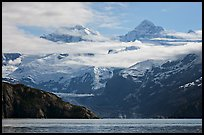 Rugged peaks of Fairweather range rising abruptly above the Bay. Glacier Bay National Park, Alaska, USA. (color)