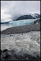 Stream flowing into Tarr Inlet, with Margerie Glacier in background. Glacier Bay National Park, Alaska, USA. (color)