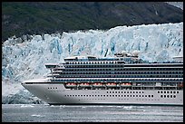 Cruise ship dwarfed by the face of Margerie Glacier. Glacier Bay National Park ( color)