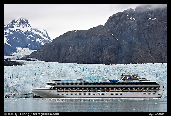 Cruise ship stopping next to Margerie Glacier. Glacier Bay National Park (color)