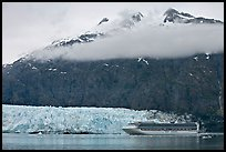 Cruise ship, Margerie Glacier, and Mt Forde. Glacier Bay National Park ( color)