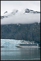 Cruise ship and Margerie Glacier at the base of Mt Forde. Glacier Bay National Park ( color)