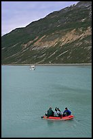 Skiff and tour boat in Reid Inlet. Glacier Bay National Park, Alaska, USA. (color)
