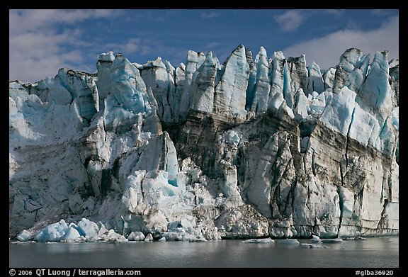 Seracs on the face of Lamplugh glacier. Glacier Bay National Park, Alaska, USA.