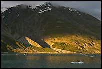 Sunset light falling on the base of the peaks around Tarr Inlet. Glacier Bay National Park ( color)