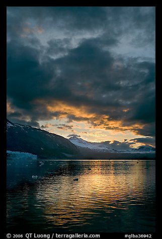 Margerie Glacier, Mount Eliza and Tarr Inlet at sunset. Glacier Bay National Park (color)