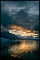 Margerie Glacier, Mount Eliza and Tarr Inlet at sunset. Glacier Bay National Park ( color)