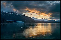 Mount Forde, Margerie Glacier, Mount Eliza, Grand Pacific Glacier, at sunset. Glacier Bay National Park, Alaska, USA. (color)