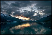 Mount Forde, Margerie Glacier, Mount Eliza, Grand Pacific Glacier, and Tarr Inlet, cloudy sunset. Glacier Bay National Park ( color)