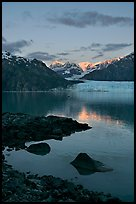 Mount Fairweather and Margerie Glacier seen across the Tarr Inlet. Glacier Bay National Park, Alaska, USA. (color)