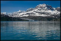 Mount Cooper and Lamplugh Glacier, reflected in rippled waters of West Arm, morning. Glacier Bay National Park, Alaska, USA.