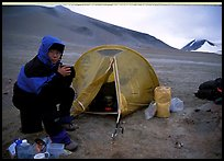 Camping on the bare terrain of the Valley of Ten Thousand smokes. Katmai National Park, Alaska (color)