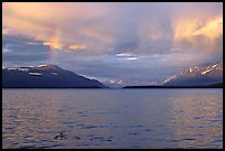 Sunset and rainbow, Naknek lake. Katmai National Park, Alaska, USA. (color)