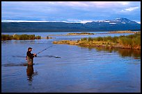Man fishing for salmon in the Brooks river. Katmai National Park ( color)