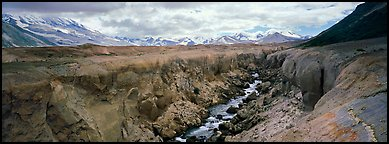 Volcanic landscape with river cutting into ash valley. Katmai National Park (Panoramic color)