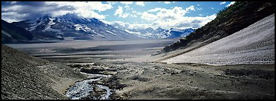 Stream flowing into arid ash-covered valley. Katmai National Park (Panoramic color)