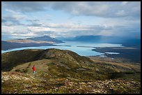 Visitor looking, Naknek Lake from Dumpling Mountain. Katmai National Park ( color)