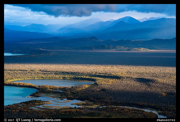 Brooks River and mountains, evening. Katmai National Park (color)