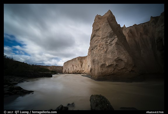 Ash cliffs carved by Ukak River, Valley of Ten Thousand Smokes. Katmai National Park (color)