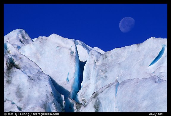 Seracs and moon, Exit Glacier. Kenai Fjords National Park (color)