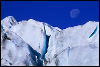 Seracs and moon, Exit Glacier. Kenai Fjords National Park ( color)