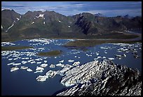 Aerial view of Bear Glacier and lagoon. Kenai Fjords National Park, Alaska, USA. (color)