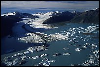 Aerial view of the front of Bear Glacier. Kenai Fjords National Park, Alaska, USA. (color)