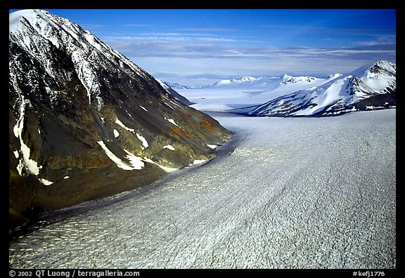 Aerial view of large Alaskan glacier. Kenai Fjords National Park, Alaska, USA.