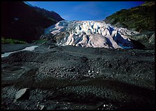 Dark glacial plain floor and Exit Glacier. Kenai Fjords  National Park ( color)