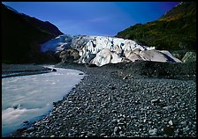Exit Glacier front and glacial stream, 2000. Kenai Fjords National Park, Alaska, USA.