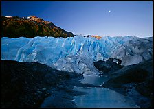 Front of Exit Glacier, sunrise and moon, 2002. Kenai Fjords National Park ( color)