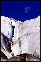 Seracs of Exit Glacier and moon. Kenai Fjords National Park ( color)