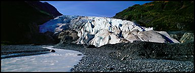 Glacial stream and Exit Glacier, 2000. Kenai Fjords National Park (Panoramic color)