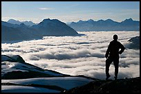 Hiker contemplaing a sea of clouds. Kenai Fjords National Park, Alaska, USA. (color)
