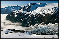 Peaks, glacier, and sea of clouds, morning. Kenai Fjords National Park ( color)