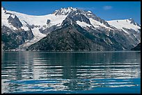 Rippled refections of peaks and glaciers, Northwestern Fjord. Kenai Fjords National Park ( color)