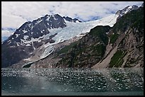 South side of fjord and icebergs, Northwestern Fjord. Kenai Fjords National Park, Alaska, USA. (color)