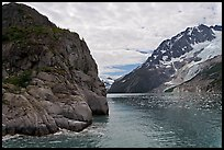 Striation Island and glacier in Northwestern Fjord. Kenai Fjords National Park, Alaska, USA.