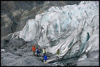 Family hiking on moraine at the base of Exit Glacier. Kenai Fjords National Park ( color)