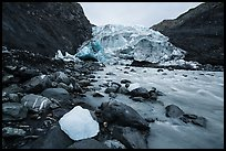 Iceberg, glacial stream, Exit Glacier terminus, 2016. Kenai Fjords National Park ( color)