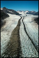 Aerial view of Bear Glacier with crevasses and lateral moraines. Kenai Fjords National Park ( color)