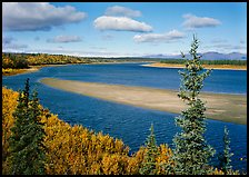 Sand bar and bend of the Kobuk River, mid-morning. Kobuk Valley National Park, Alaska, USA.