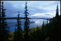 Bend of Kobuk River, dusk. Kobuk Valley National Park, Alaska, USA. (color)