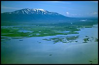 Aerial view of estuary and snowy peak. Lake Clark National Park ( color)