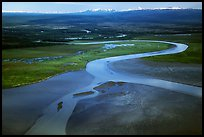 Aerial view of river and estuary. Lake Clark National Park, Alaska, USA. (color)