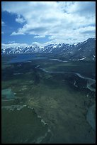 Aerial view of wide valley with Twin Lakes. Lake Clark National Park ( color)