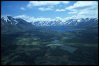 Aerial view of large valley with Twin Lakes. Lake Clark National Park ( color)
