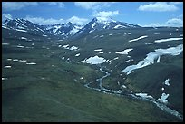 Aerial view of river and valley in the Twin Lakes area. Lake Clark National Park ( color)