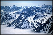 Aerial view of Chigmit Mountains. Lake Clark National Park, Alaska, USA. (color)