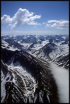 Aerial view of rocky peaks with snow, Chigmit Mountains. Lake Clark National Park ( color)